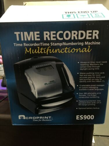 Acroprint ES900 Time Recorder - Time clock/document stamp - printable time cards