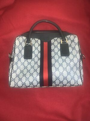 Authentic GUCCI Vintage Web Ophidia Navy Accessory Collection 1970s Handbag