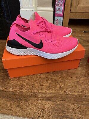 New Genuine Nike Women's Nike epic react Flyknit 2 Trainers Pink Blast Uk Size 7