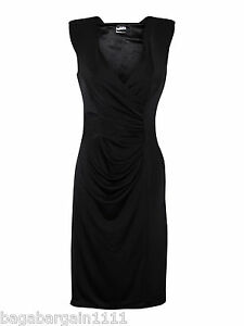 NEW-PLAIN-RUCHED-EVENING-COCKTAIL-PARTY-SMART-OFFICE-LITTLE-BLACK-DRESS-LBD