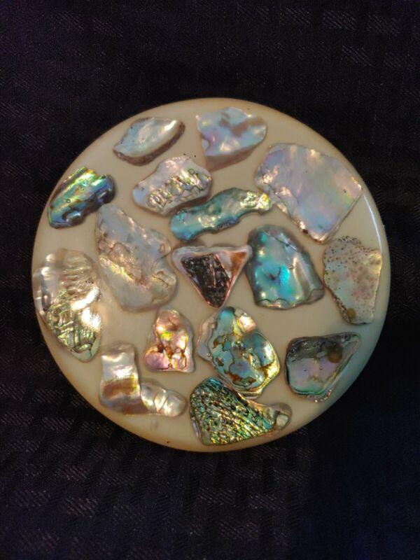 Abalone Shell Lucite Trivet Retro Mid Century Vintage
