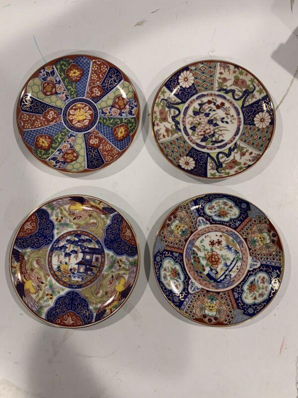 """Antique Imari Ware Japan Porcelain Plate Lot 6 1/4""""-Brilliant Floral Patterns"""