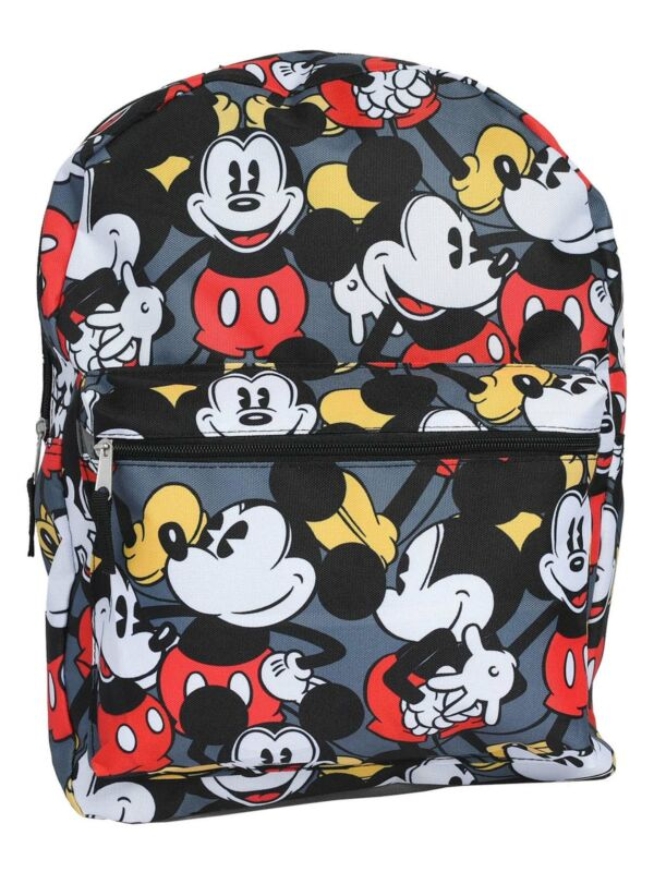 "Disney Mickey Mouse All-Over Print Backpack 16"" Black Red Gray"