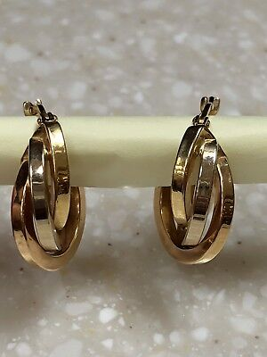 (18k Solid Yellow Gold Two Tone Triple Hoop Earrings)