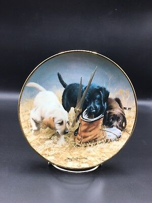 Little Labrador Puppy Dog Collector Plate Made Into A Clock !!