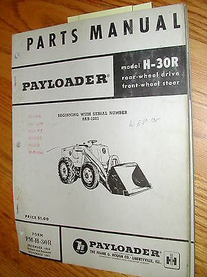 Hough H30r Parts Manual Book Catalog Wheel Payloader Guide List International Ih
