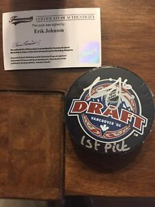Eric Johnson draft day 1st pick autographed puck with COA