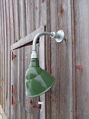 "Vintage 10"" Ivanhoe Angle Green Porcelain Wall Light Gas Station Industrial Barn"