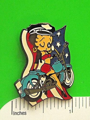 BIKER BETTY BOOP  USA flag - hat pin , lapel pin , tie tac , hatpin GIFT BOXED