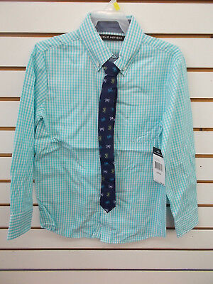 Boys Public Notices $30 Turquoise & White Checked Dress Shirt w/ Tie Size 8 - 18 - White Dress Shirt Boys