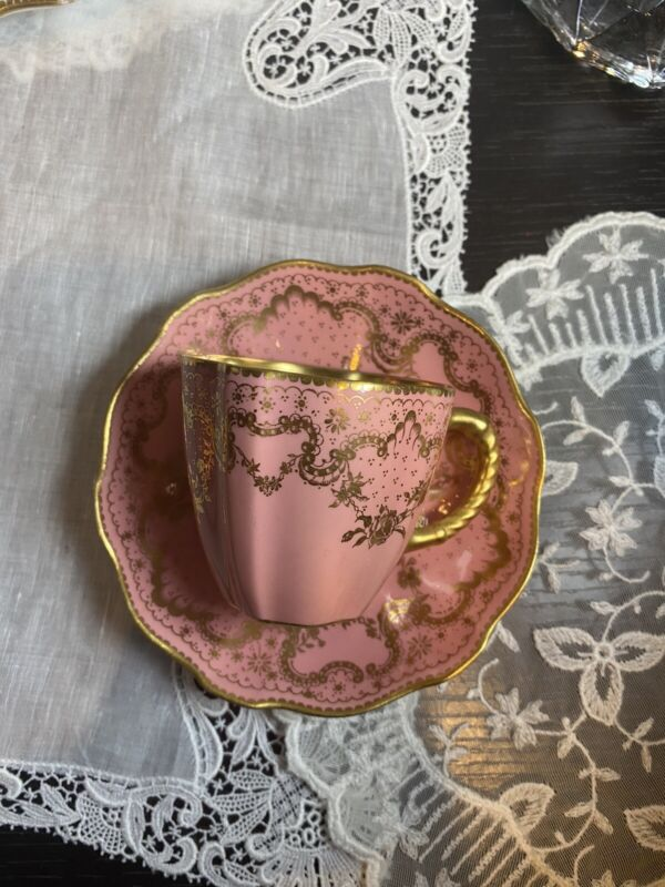Royal Crown Derby Demitasse Tea Cup Saucer Set Pink Gold