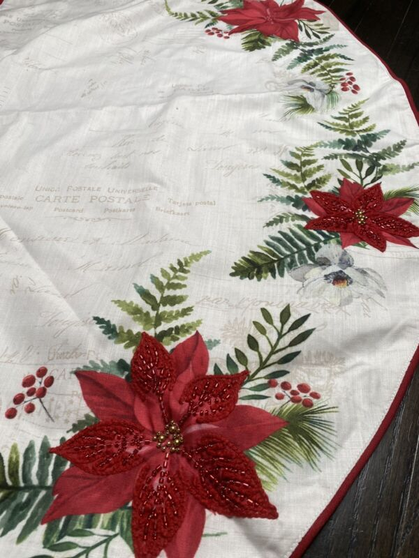 NWOT Christmas Tree Skirt Poinsettias, Beaded