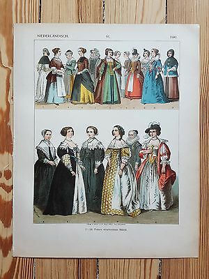 Dutch Costume - c.1500 - Fashion History, Original Print, Art, 17th c Netherland