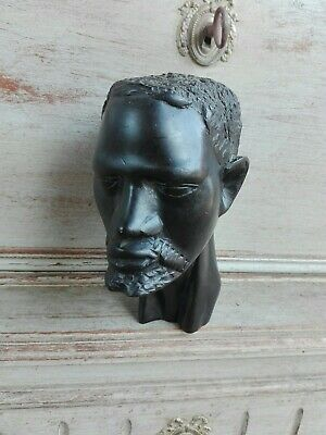 ART ETHNIC AFRICAN ANTIQUE HEAD MAN WOODEN CARVED BLACKENED STYLE EBONY