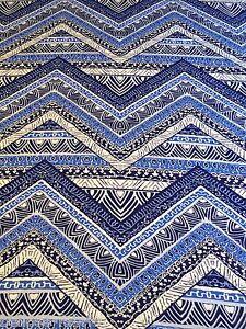 B066 - Viscose Rayon Blue Aztec Zig Zag Jersey Stretch Dress Fabric Material
