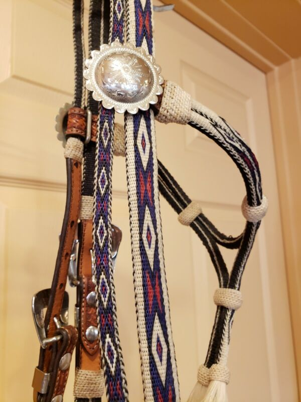 Outstanding Vintage Hitched Horsehair and Leather Headstall Usable