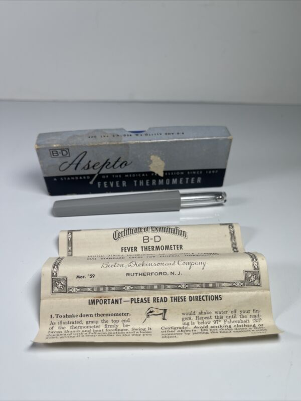 Vintage BD Glass Asepto Fever Thermometer w Case Box and Certificate 1959 59191