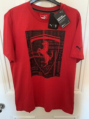 Puma Ferrari Big Shield T-Shirt Red Size Large BNWT