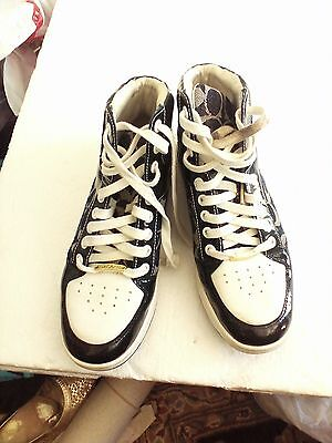 COACH SHOES NORRA WOMENS FASHION HI- TOP SNEAKERS BLACK/WHITE SIG C SIZE 9 MED