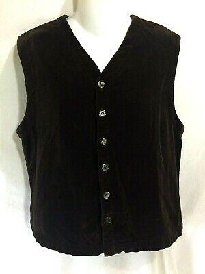 CP SHADES Soft Brown Cotton Velvet Boxy Button Down Vest Top Boho Lagenlook S