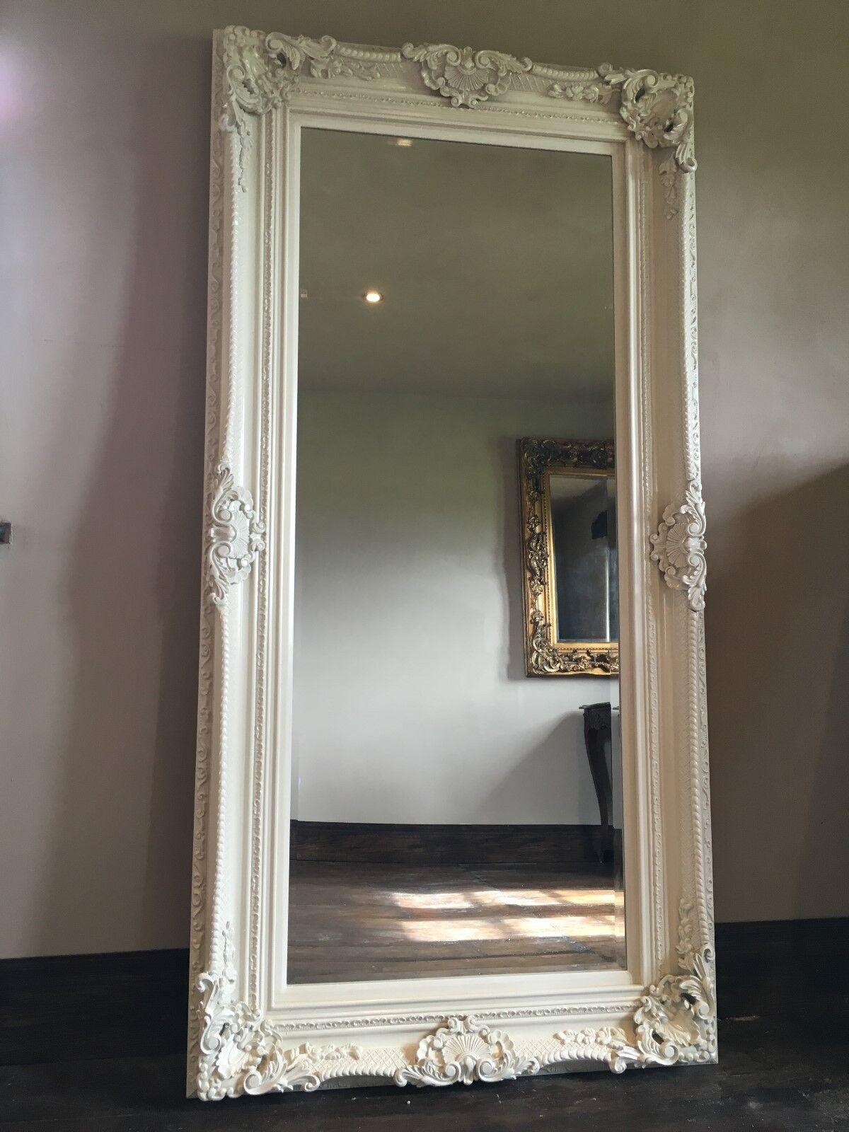 Antique White Cream French Statement Vintage Leaner Dress Floor Wall Mirror 6ft Ebay