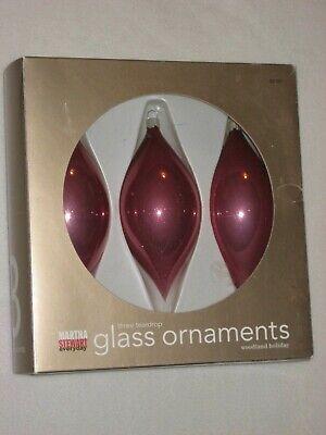 Martha Stewart Christmas Ornaments Glass Flute Woodland Holiday Box of 3