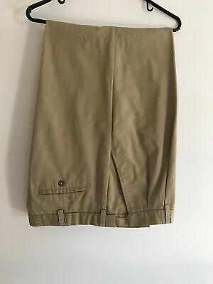 Izod mens 40 waist 30 length tan pleated cuffed extender waist pants