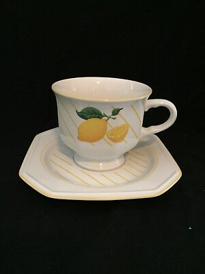Mikasa Fresh Fruit Lemons Discontinued 1980s Cup And Saucer