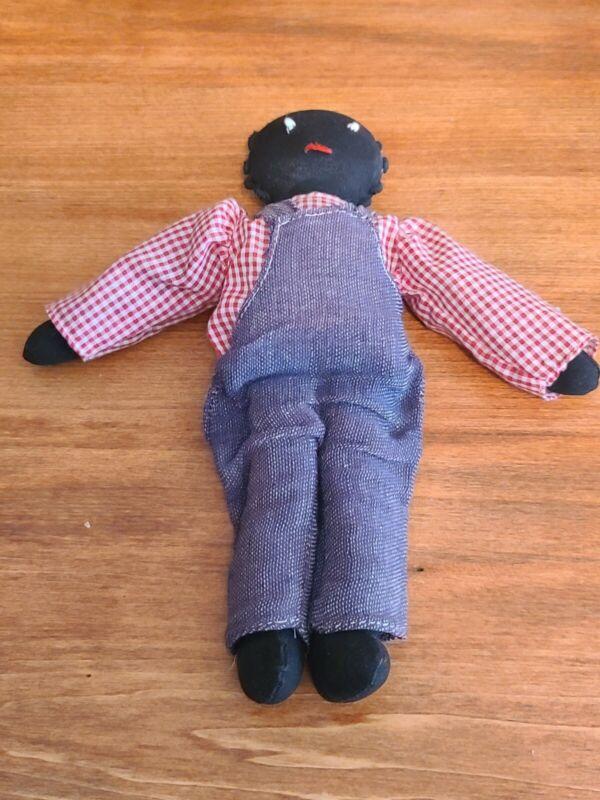 """Vintage Black Handmade Folk Art Cloth Rag Boy Doll With Soft Body ~ 9"""" Tall"""