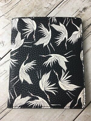 A New Day Black & White Crane Bird Print Passport Cover EUC
