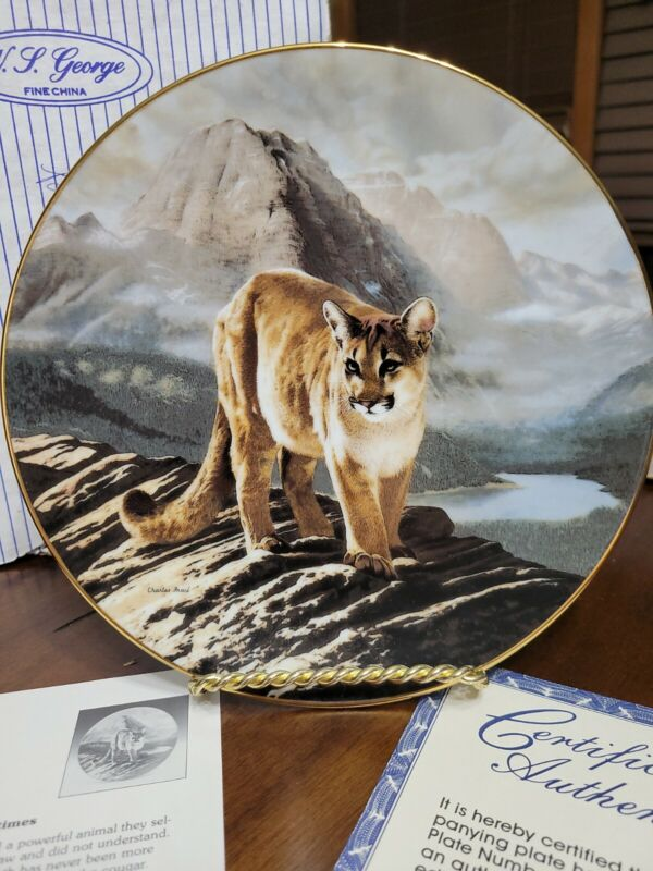 """Decorative Plate """"The Cougar"""" 1991 by Charles Fraće"""