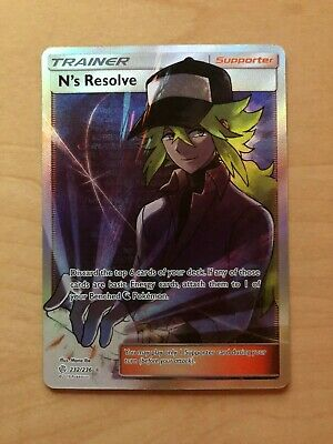 Pokemon N's Resolve Full Art Trainer Cosmic Eclipse 232/236 Tag Team New Mint