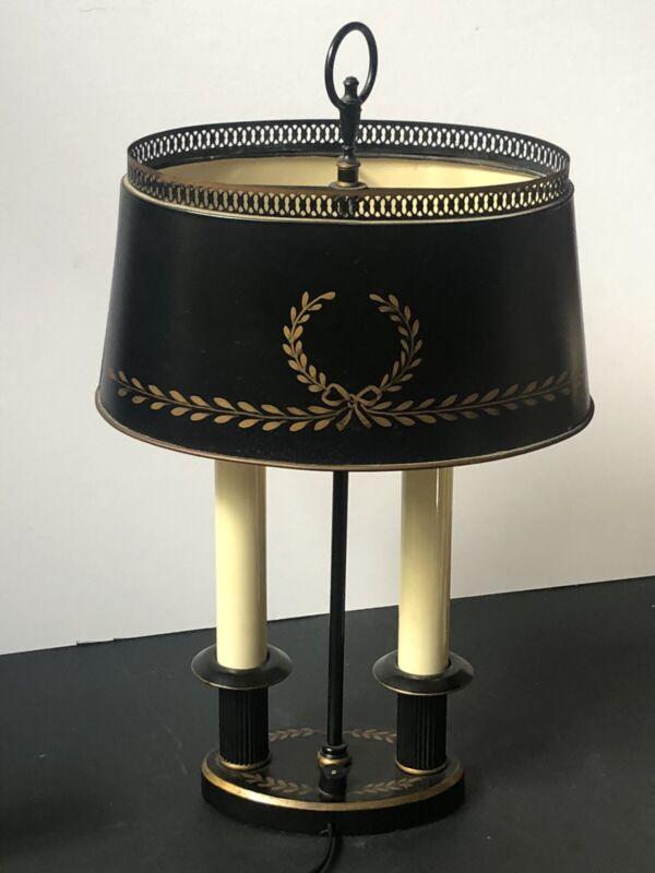 RARE! Vintage TOLE GOLD Black Florentine Metal LAMP *Bouillotte WREATH Toleware