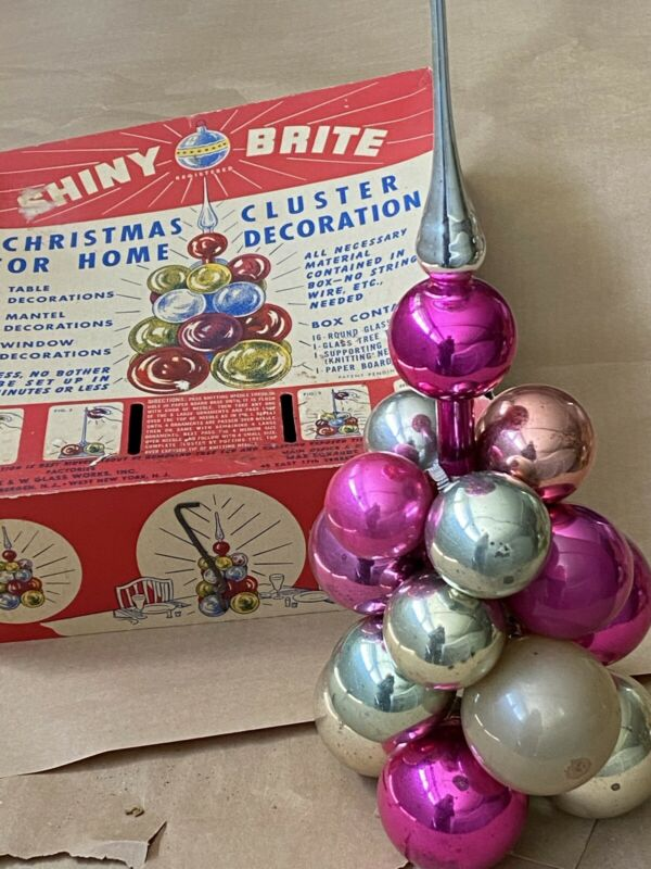 Shiny Brite Christmas Cluster Tree, Vintage Table Top Holiday