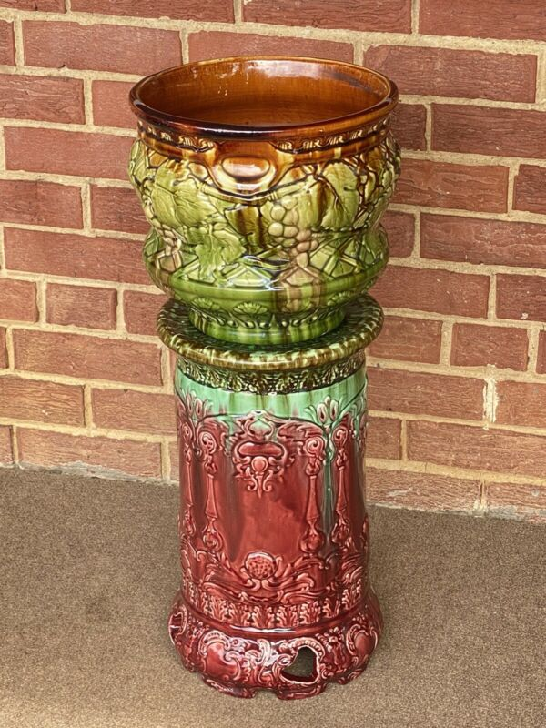 "Antique Majolica Jardiniere Pedestal Plant Stand with pot 26""x11"""