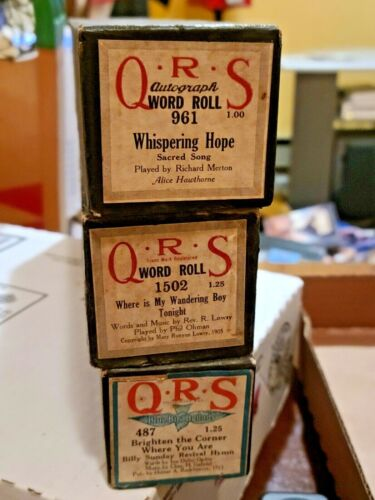Lot of 3 QRS Player Piano Rolls