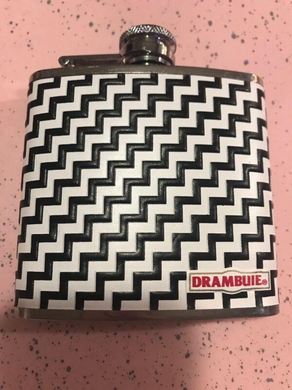 Drambuie 5 oz Stainless Steel Hip Flask NEW Promotional Black white Chevron