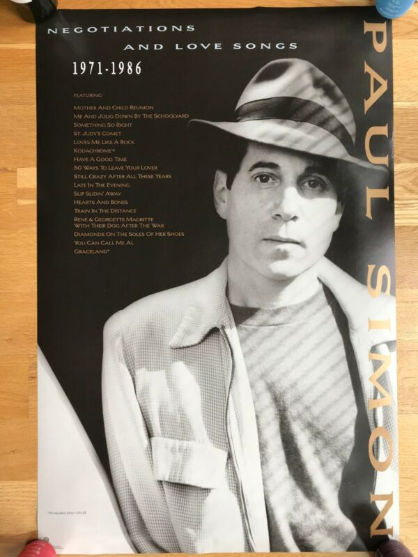 PAUL SIMON - Negotiations and Love Songs 1972-86 - FULL SIZE Poster, 23x35, 1988