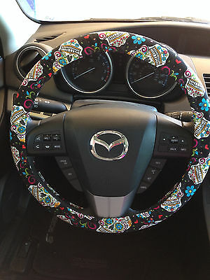 Sugar Skull Dia de los Muertos Day of the Dead Steering Wheel Cover