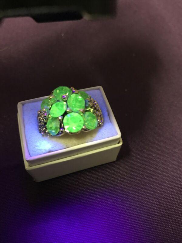 Vintage Uranium Green Cluster of Rhinestones Gold Tone  Adjustable Ring
