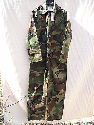 Woodland Camouflage Mechanic's Coveralls, Size Small - Free Shipping