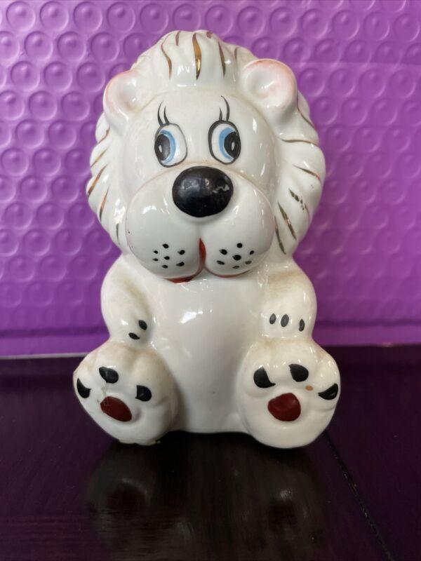Vintage Porcelain Ceramic Lion Cute White Gold Figurine Statue