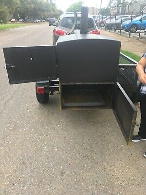Smoker Trailer Pull Behind5x8wcharcoal Grill 4 Compartment Table Top Sink