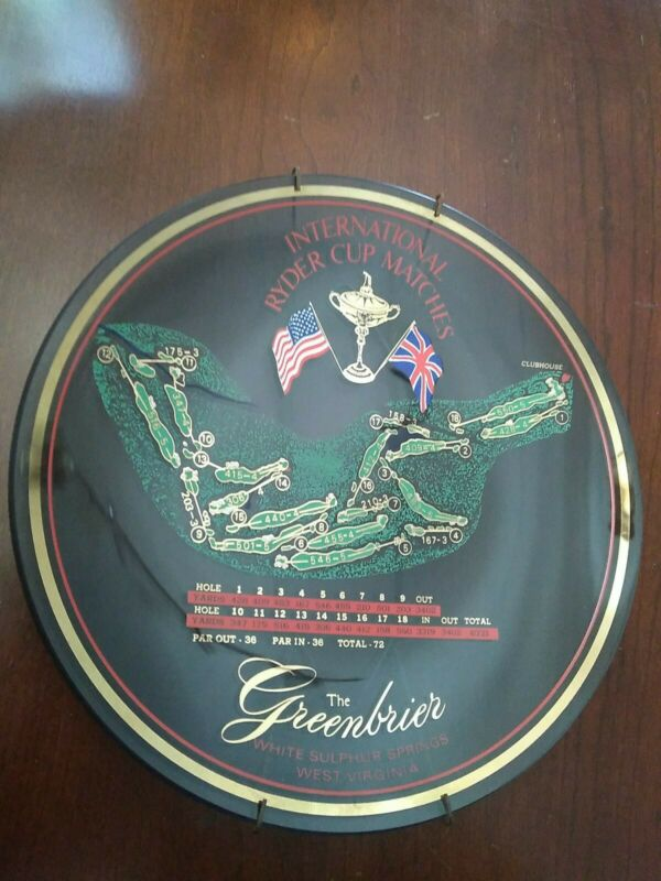 """Rare Greenbrier Resort Hotel 1979 Ryder Cup Golf Matches 9.5"""" Plate with hanger"""