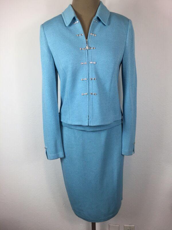 St. John 3 Piece Skirt Suit Light Blue Knit Long Sleeve Skirt Size 4-6