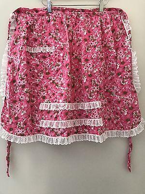Vtg Charming Floral 1/2 Half APRON Pink Green Lace Pocket 1950s Retro Cotton