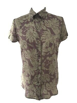 Joseph Size L UK 12 Pure Silk Short Sleeved Blouse Floral Summer