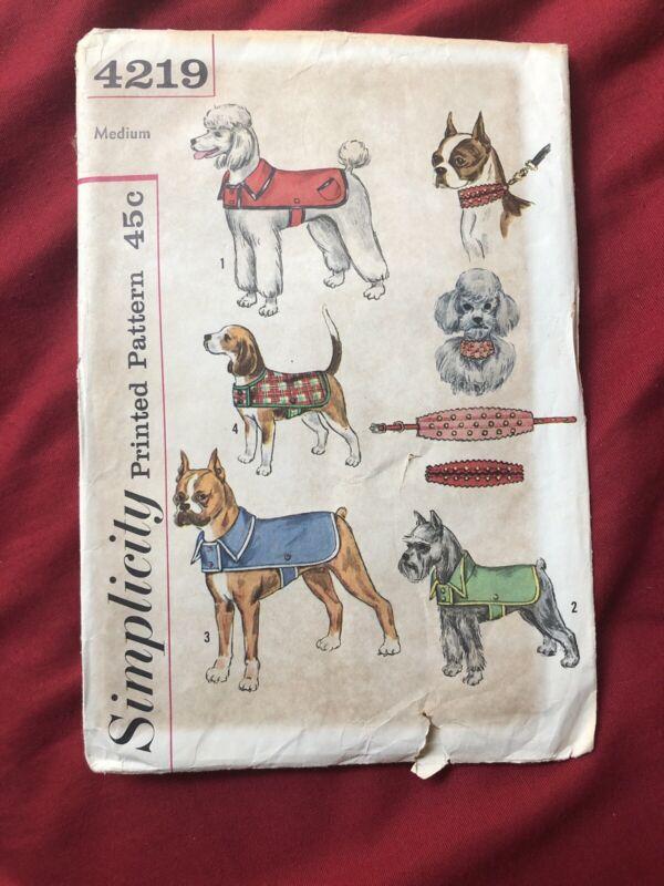 Vintage Simplicity Sewing Pattern 4219 Medium Pet Dog Coat & Collar ORIGINAL PT