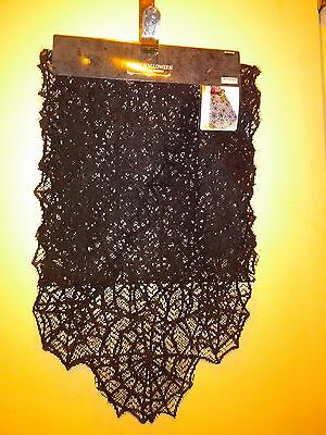 Happy Halloween Black Lace Table Runner Spider Web Design