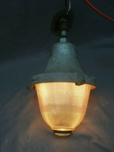 Vtg Industrial Holophane Ceiling Light Fixture Factory Work Old Acorn 09-20E